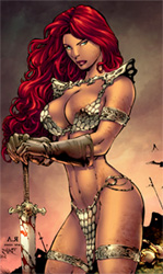Impressively curvy warrior babe in chainmail bikini