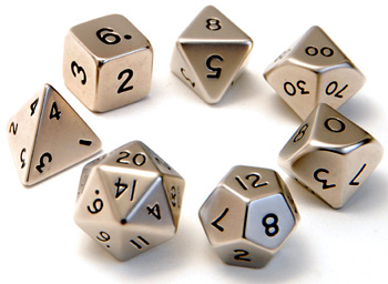 metallic RPG Dice